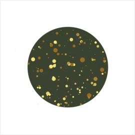 Sluitsticker | Cirkel met goud look confetti