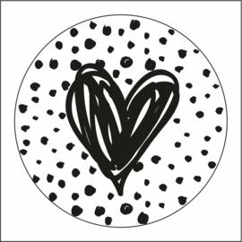 Muurdots |  buiten | zwart wit dots met hart