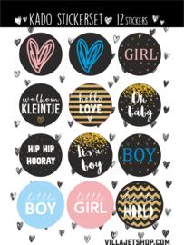 Kado sticker |  set 12 stuks  BABY