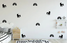 Stickers set    unicorns & Rainbows muurstickers