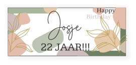 Verjaardags banner | bloemen en poeder kleuren