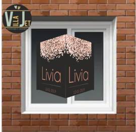 Raambord geboorte| champagne confetti Livia