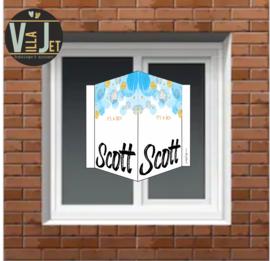 Raambord | Aquarelblauw met gouden hartjes Scott