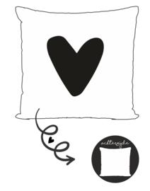 Buitenkussen | hartje zwart