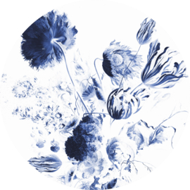 KEK behangcirkel Koningsblauwe Bloemen CK-002
