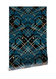 Kek goud behang Art Déco vlinder MW-007