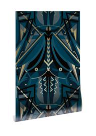 Kek goud behang Art Déco sprinkhaan MW-004