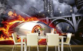 @Walls fotobehang auto in vlammen 0314