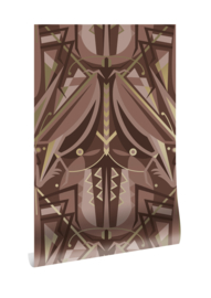 Kek goud behang Art Déco sprinkhaan MW-006