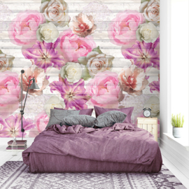 Colorful Florals & Retro INK7295 Tulips On Wood