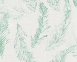 35896-4 behang met groene veren