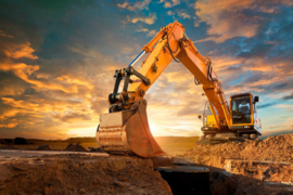 XXL wallpaper yellow digger 470348 graafmachine kraan