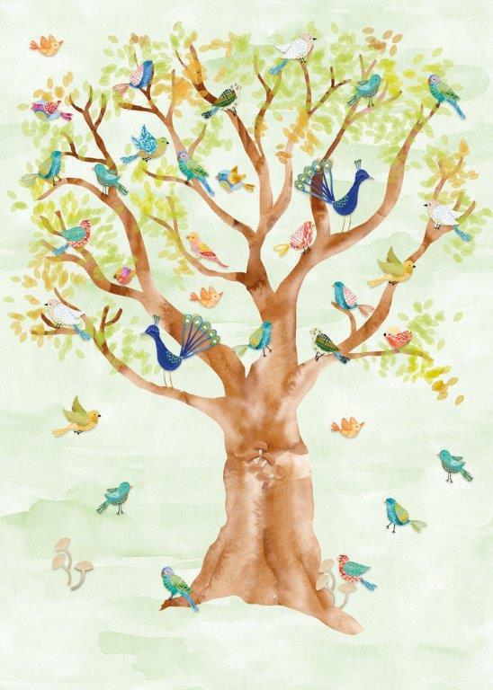 Behang Expresse Kate & Andy INK7427 vogels in boom (groen)