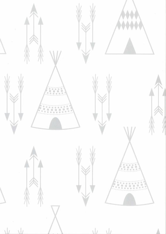 Fabs world 67107-1 behang met tipi