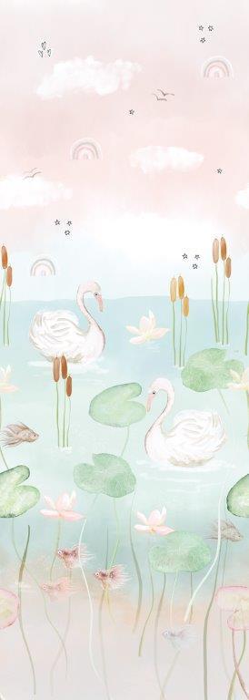 Behang Expresse Kate & Andy INK7454 vijver met zwanen (roze)
