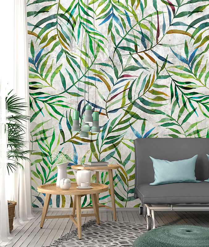 Colorful Florals & Retro INK7309 Big Leaves Wall