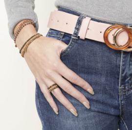 Elastische kralen ringen set van 3 bruin