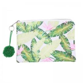 WH Make up tas Viva la Summer roze groen blad
