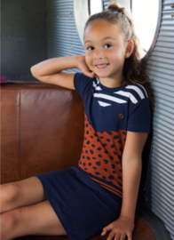 DJ Dutchjeans jurk Navy stripe congnac