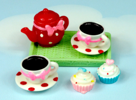 Thee setje met cupcakes