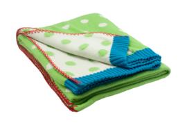 Dushi gebreide deken, groen met stippen