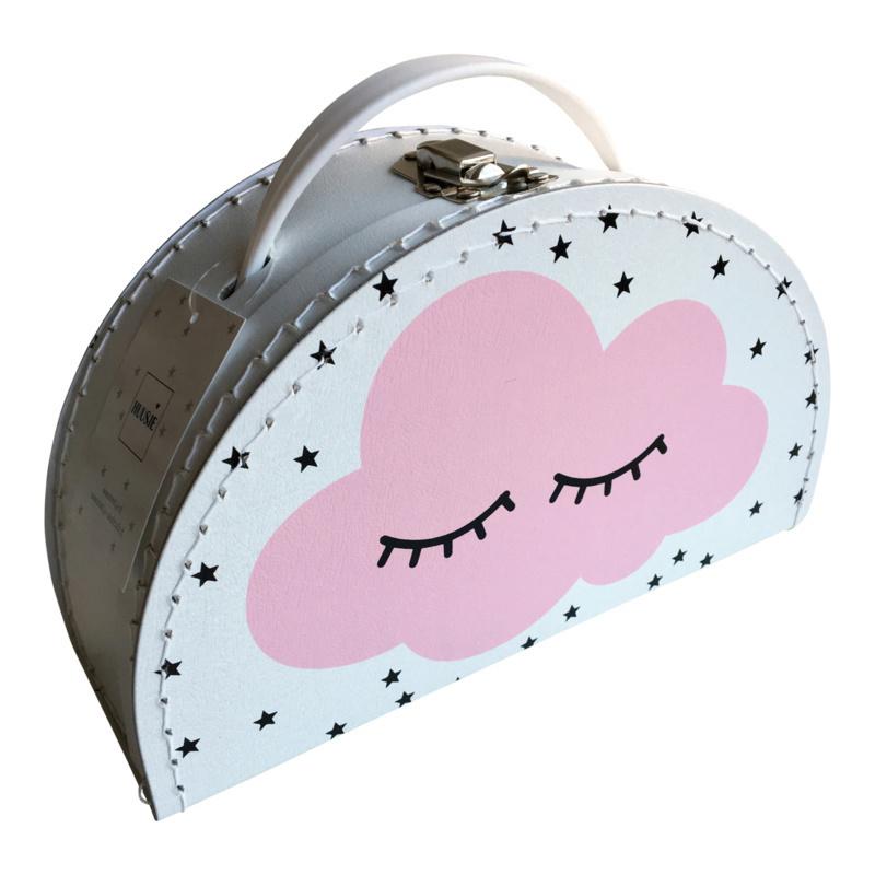 Kinderkoffertje half rond WOLKJE roze 24cm