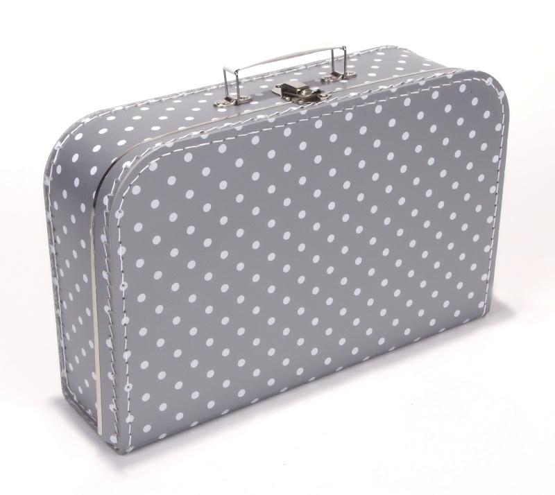 Koffertje zilver / witte stip 35 cm.