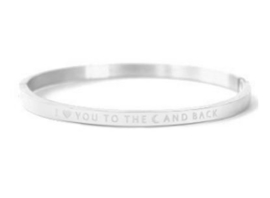 RVS armband *I love you to the moon and back*