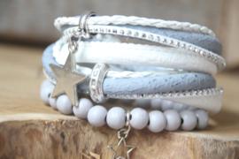 Wikkelarmband ijsblauw/wit