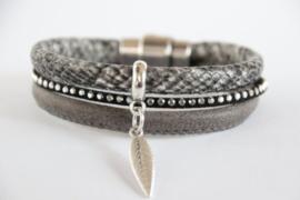 Armband snake grijs