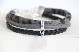 Armband panter grijs/zwart
