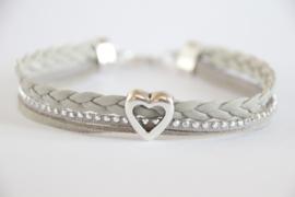 Armband grijs strass