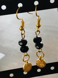Oorbellen goud zwart muntje