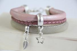 Armband roze/grijs