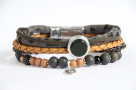 Armband okergeel/ grijs