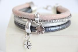 Armband antraciet grijs roze