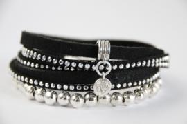 Armband zwart strass
