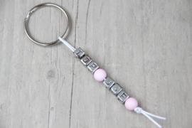 Sleutelhanger *top-juf* roze/zilver