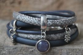 Armbandenset blauw grijs