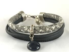 Armband grijs snake/ blauw