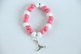 kralenarmband roze-wit sport