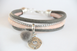 Armband grijs/pastelroze