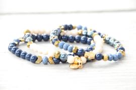 kralenarmbanden set blauw/goud