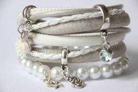Wikkelarmband wit/grijs