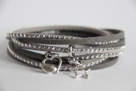 Wikkelarmband grijs strass