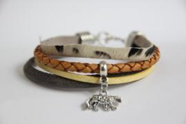 Armband grijs/ geel