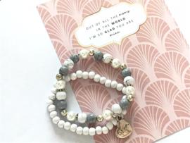 kralen armbandenset wit grijs