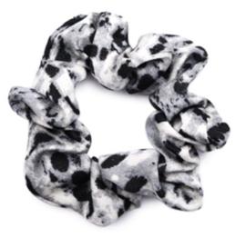Scrunchie snake print zwart grijs