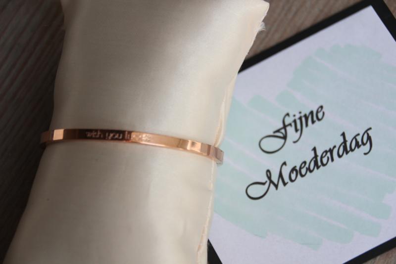 RVS armband * WISH YOU LUCK*  thin Rosegold
