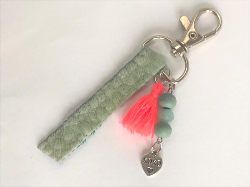 Sleutelhanger ibizastyle groen/roze